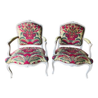 Painted French Open Armchairs - a Pair For Sale