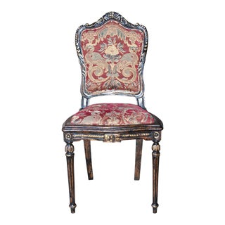 Vanity Chair Suzanna Antiqued Gold Leaf Wood For Sale