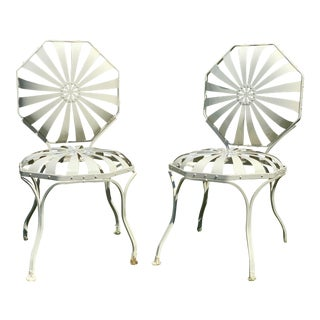 Vintage Francois Carre French Art Deco Iron Pair Sunburst Harder Side Chairs - a Pair For Sale