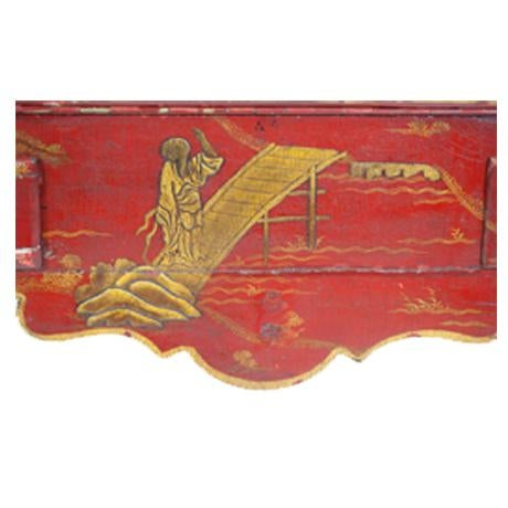 Louis XV Period Gilt-Bronze Mounted Red-Lacquered Drop Front Bureau, Ca. 1750 For Sale - Image 4 of 5