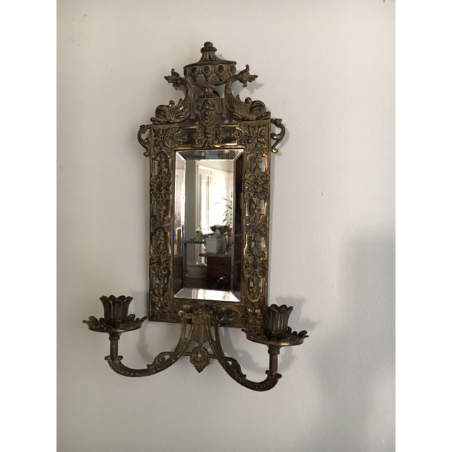 Traditional B & H Mirrored Candle Sconce For Sale - Image 3 of 8