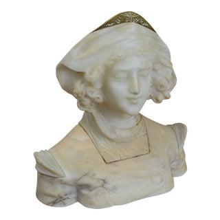 Art Nouveau Alabaster Bust of Young Woman