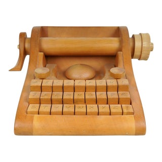1940s Italian Wood Typewriter For Sale