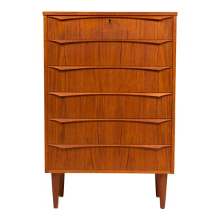 1960s Vintage Danish Mid-Century Six Drawer Tallboy Dresser For Sale