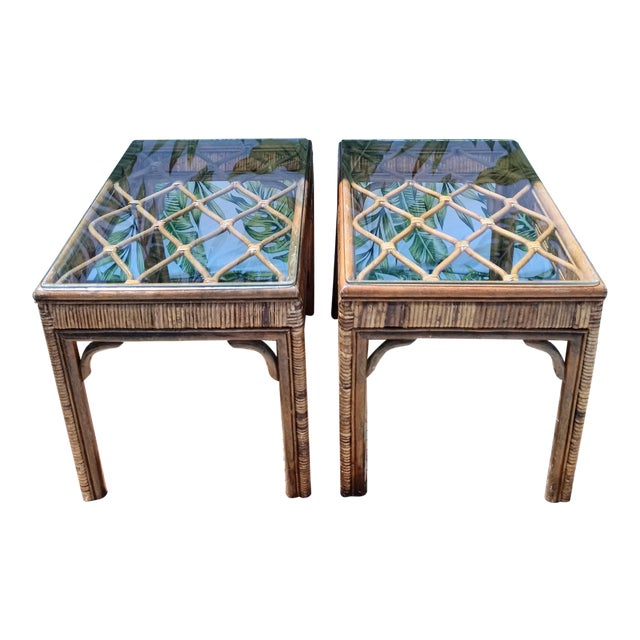 Vintage Rattan Stained Diamond Design Glass Top End Side Tables -A Pair For Sale