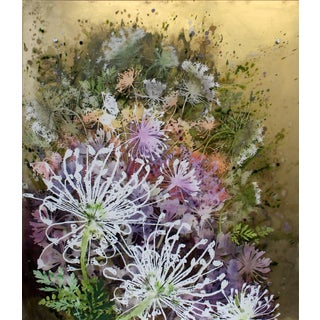 Cara Enteles Dill Flowers Floral Painting on Layered Plexiglass 2016 For Sale