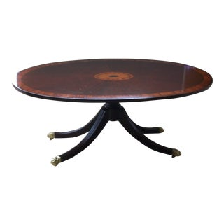 Pennsylvania House Mahogany Duncan Phyfe Oval Coffee Cocktail Table With Inlay