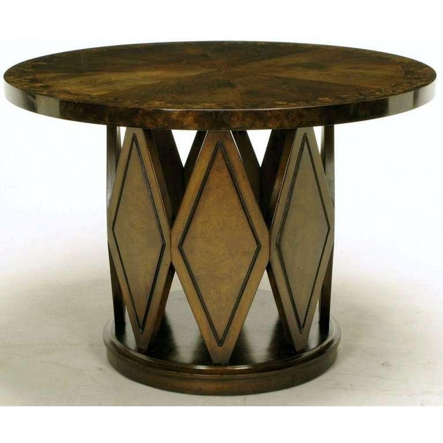 Excellent wood grain and completely refinished side table by fine American furniture maker, Weiman. Table has round burled...