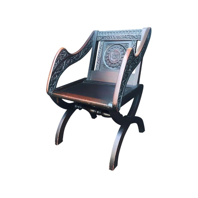 Antique Tudor Revival English Manor House Carved Hall Chair For Sale