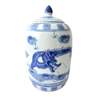 'Flying Dragon' Blue & White Ginger Jar