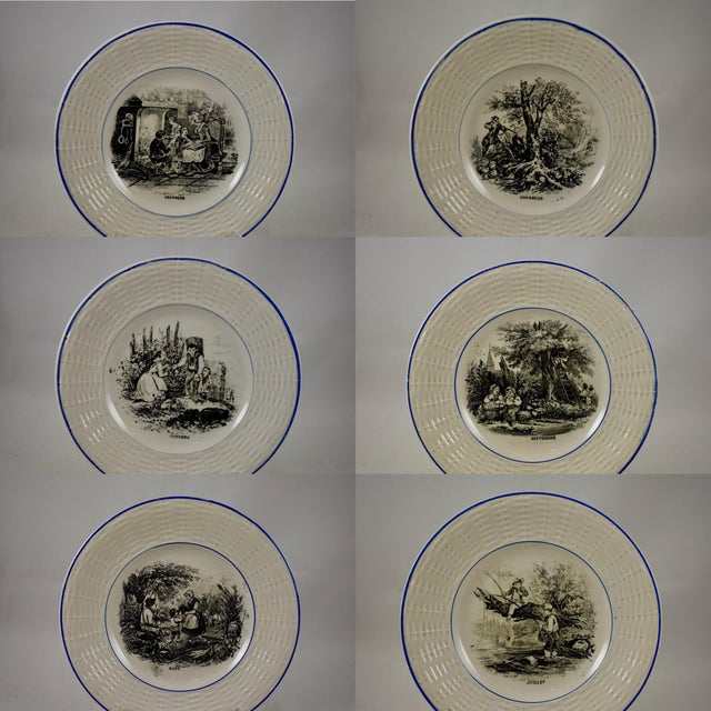 A complete set of twelve, Digoin Sarreguemines, French faïence plates, known as 'Les mois de l'année à la campagne' or The...