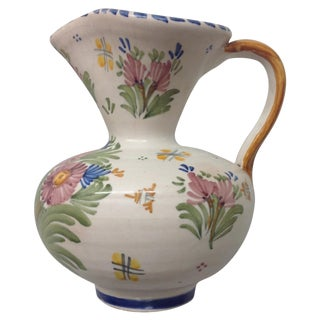 Antique Spanish Talavera Hand Painted Pitcher For Sale