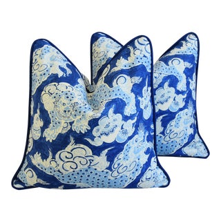 "Blue & White Chinoiserie Dragon Feather/Down Pillows 22"" Square - Pair"