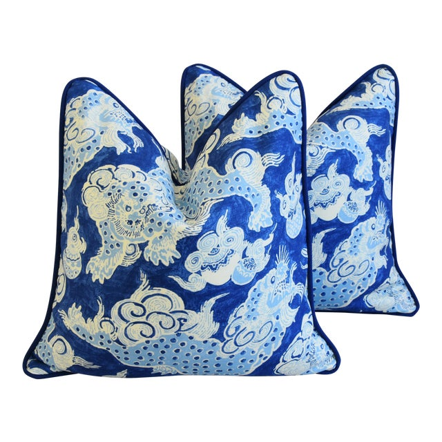"Blue & White Chinoiserie Dragon Feather/Down Pillows 22"" Square - Pair For Sale"