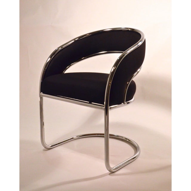 S / 4 Mid Century Modern Upholstered Chrome Sling Back Dining / Side Armchairs by Contemporary Shells Inc. - Image 4 of 5
