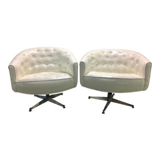 Mid-Century Herman Miller Off-White Vinyl Swivel Chairs - a Pair For Sale