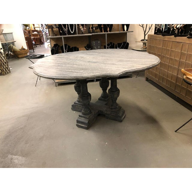 Shabby Chic Gray Washed Pedestal Dining Table For Sale In Atlanta - Image 6 of 6
