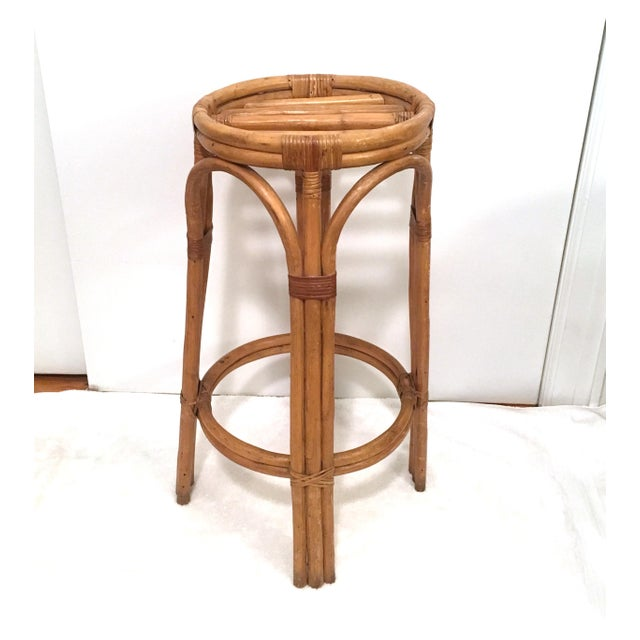 Vintage Rattan Stools or Plant Stands - a Pair For Sale In New York - Image 6 of 7