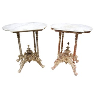 Palace of Solo Antique Marble Top End Tables