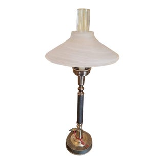 Murano Shade Candlestick Lamp For Sale