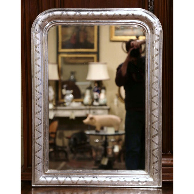 Metal 19th Century French Louis Philippe Silver Leaf Mirror With Geometric Motifs For Sale - Image 7 of 7