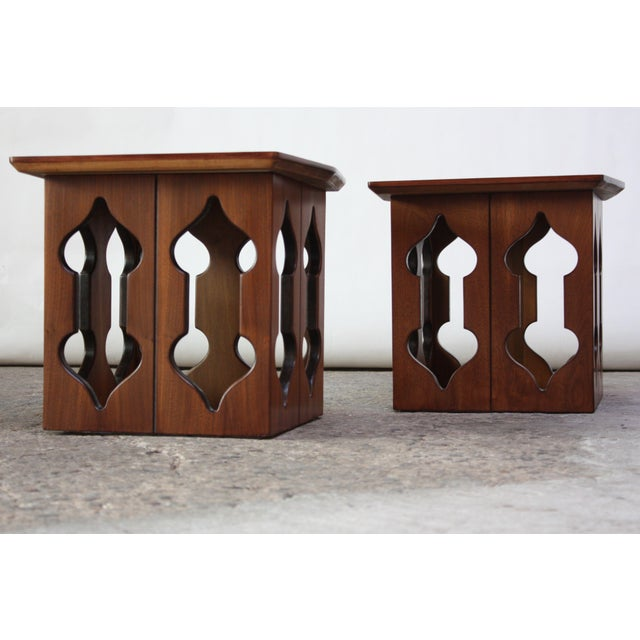 Pair of Vintage Moorish Style Walnut Side Tables with Carved Decoration For Sale - Image 12 of 12