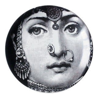 Piero Fornasetti Tema E Variazioni Porcelain Plate, Themes and Variations, Number 228, the Iconic Image of Lina Cavalieri. Circa 1965.