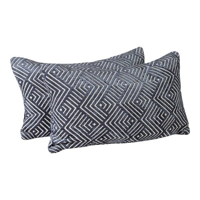 "20"" X 12"" Pollack Tipping Point Cut Velvet Pillows, Pair For Sale"