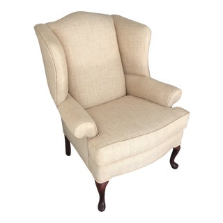 Georgian Style Herringbone Wingback Library Chair For Sale