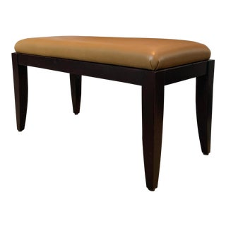 Todd Hase Dark Wood and Leather Bench For Sale