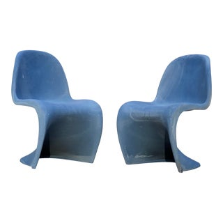 "1970s Vintage Vitra ""Panton"" Matte Blue S Chairs - a Pair For Sale"