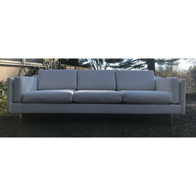 Mid-Century Modern White Linen Sofas - a Pair - Image 6 of 7