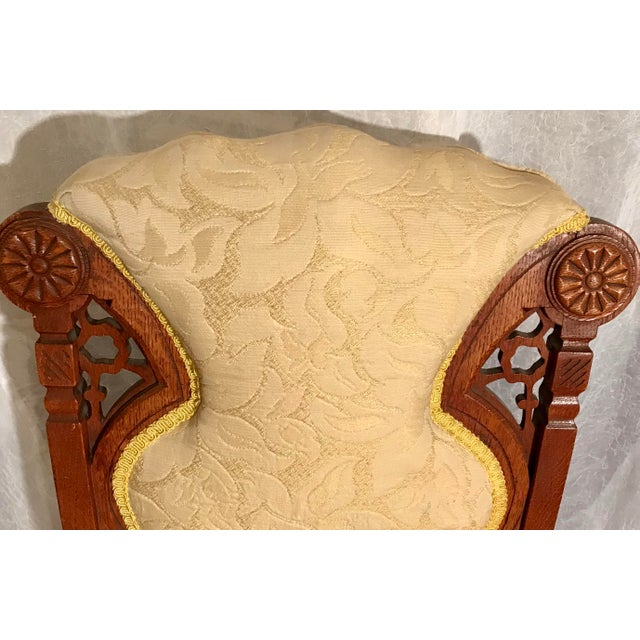 Buttercream Charles Lock Eastlake Styled Carved Victorian Era Accent Chair For Sale - Image 4 of 6