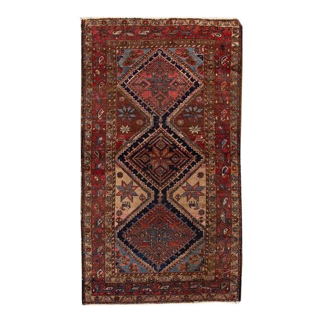 Vintage Heriz Wool Rug 3'7'' X 6'5'' For Sale