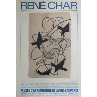 1971 Original French Exhibition Poster - René Char (Blue) - Museum of Modern Art in Paris For Sale