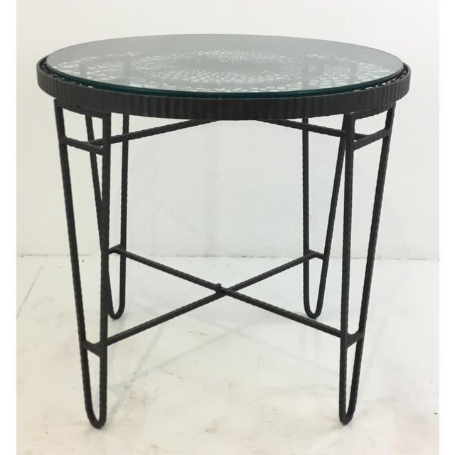 2010s Industrial Modern Iron/Wire/Glass Round Side Table For Sale - Image 5 of 5