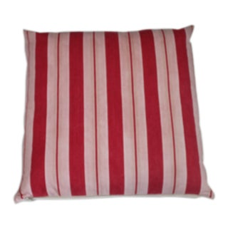 Large Vintage Thick Red Striped Ticking Pillow For Sale