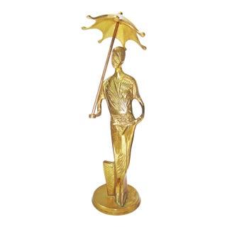Art Deco Brass Figure Woman Flapper Girl Sculpture