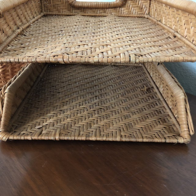 1970s Boho Chic Wicker Desk Set - 2 Pieces For Sale - Image 5 of 7