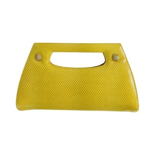 Judith Leiber Yellow Karung Structured Handle Clutch Handbag For Sale