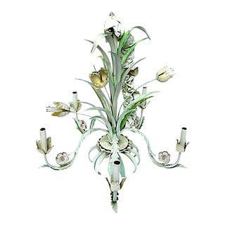 Vintage Painted Tole Floral & Leaf Chandelier
