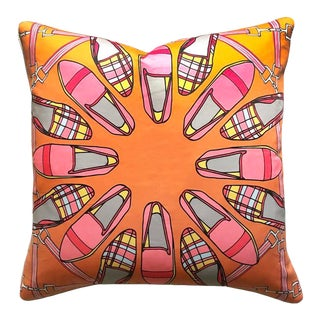 "Tartan Shoes in Harvest & Pink 22"" Pillow For Sale"