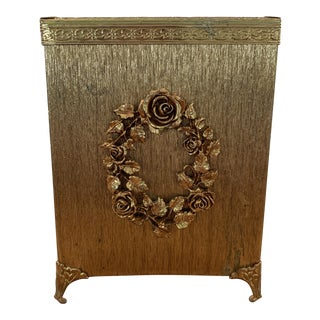 1950's Hollywood Regency Gold Ormolu Square Tissue Box Cover For Sale