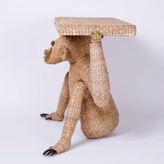 Folk Art Mario Torres Brass Face Monkey Console For Sale - Image 3 of 10
