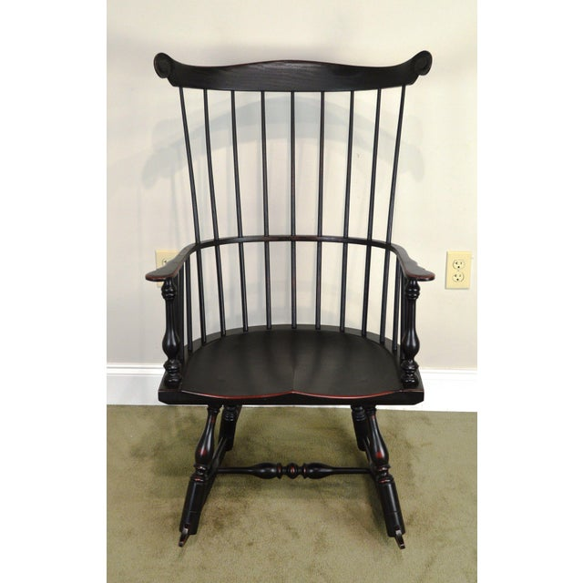 High Quality American Made Solid Wood Frame Distressed Painted Rocker.