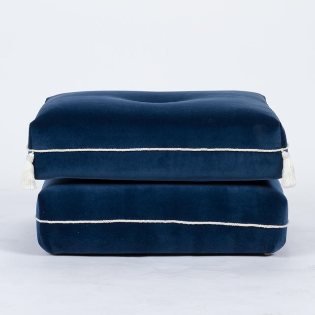Casa Cosima Casa Cosima Turkish Ottoman in Cadet Blue Velvet, a Pair For Sale - Image 4 of 7