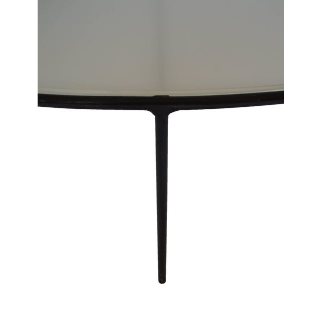 Mid 20th Century T.H. Robsjohn-Gibbings Milk Glass Top and Iron Coffee Table For Sale - Image 5 of 6