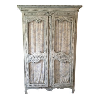 French Birdcage Doors & Blue Toile Upholstery Armoire