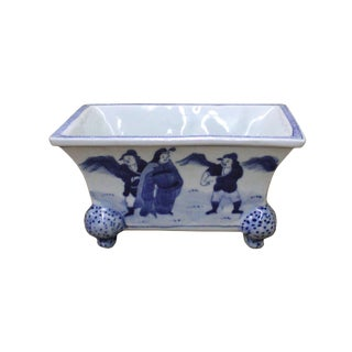 Chinese Blue & White Porcelain Graphic Rectangular Bowl Container For Sale