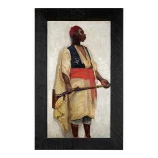 19th Century Orientalist School Portrait of an African Guard Oil Painting on Canvas Unsigned, Dated 1891 For Sale